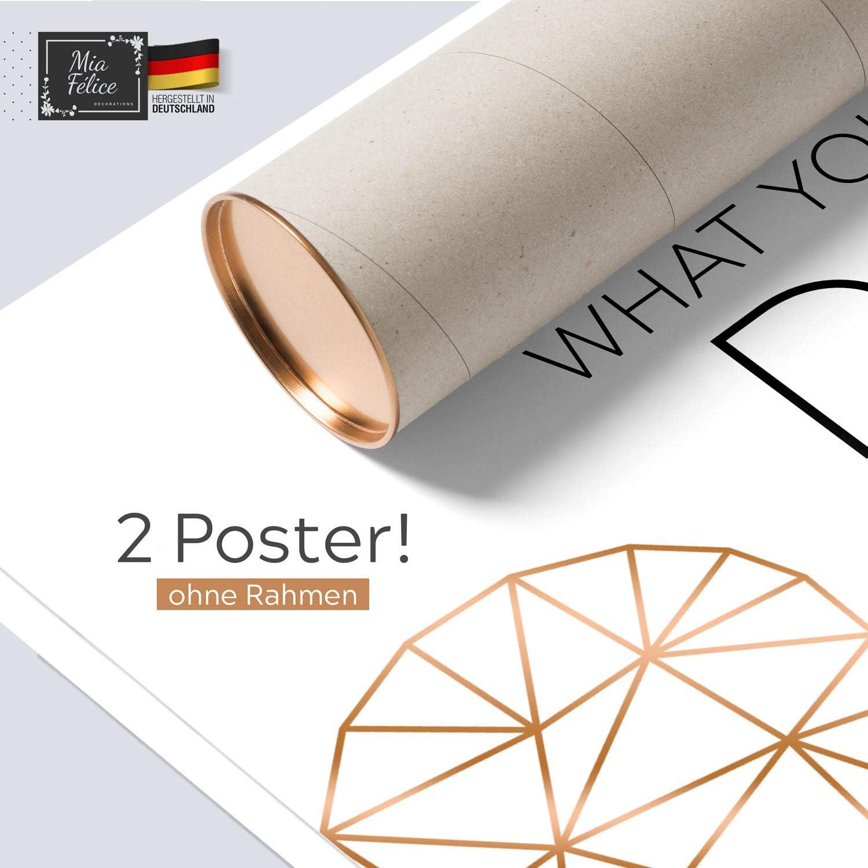 2er Set Wandbild Je 31x38cm Schwarz Gold Sprüche Glitzer Bilder Schriftzug Love