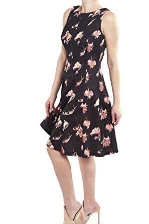 872b0037279 Joseph Ribkoff Sleeveless Black Floral Fit   Flare Dress Style 182700 Size  10