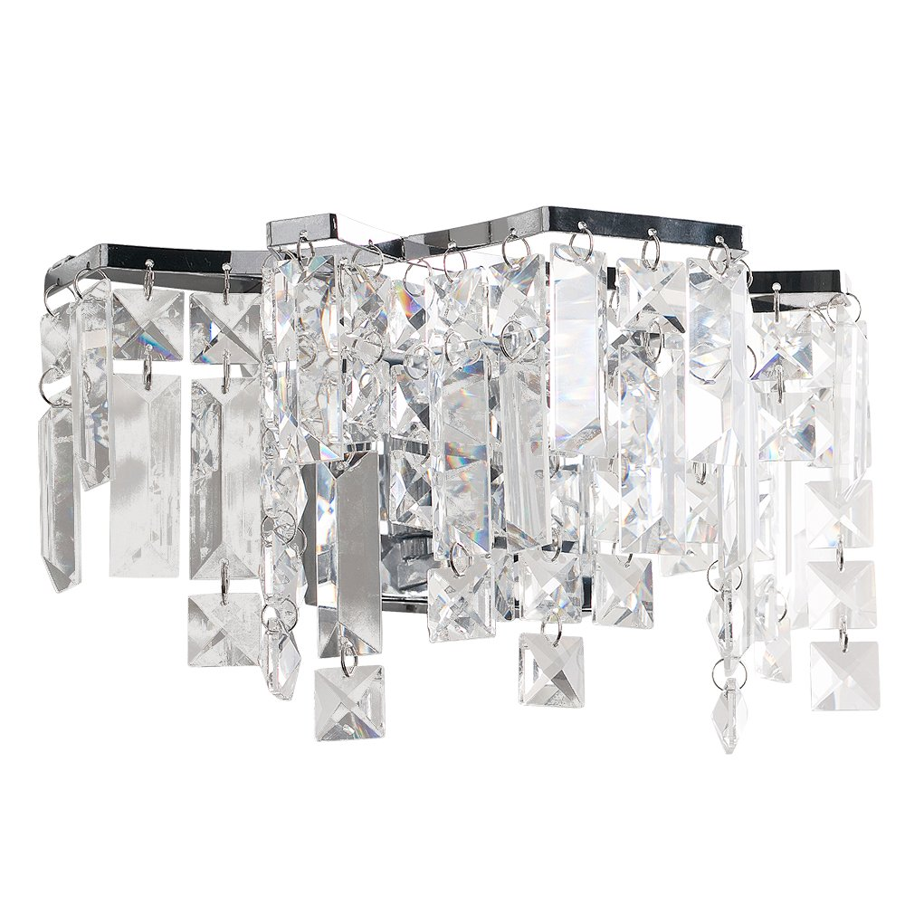 Modern Polished Chrome Genuine K9 Clear Crystal Droplet Wall Light Fitting