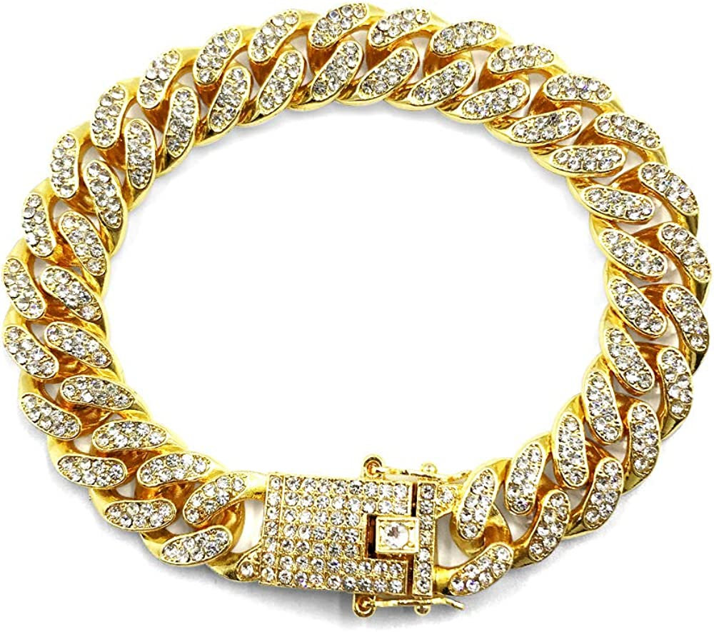 HUAMING 12mm Gold Plated Hip Hop Iced Out CZ Lab Diamond Miami Cuban Link Chain Bracelet for Men and Women