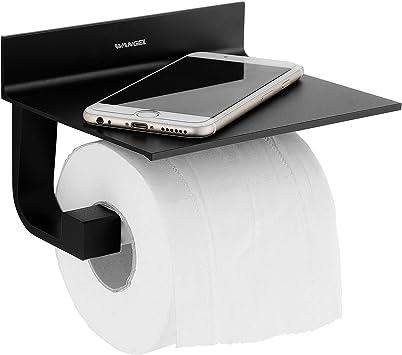 Oferta amazon: Wangel Portarrollo para Papel Higiénico, Pegamento Patentado + Autoadhesivo, Aluminio, Acabado Mate, Negro