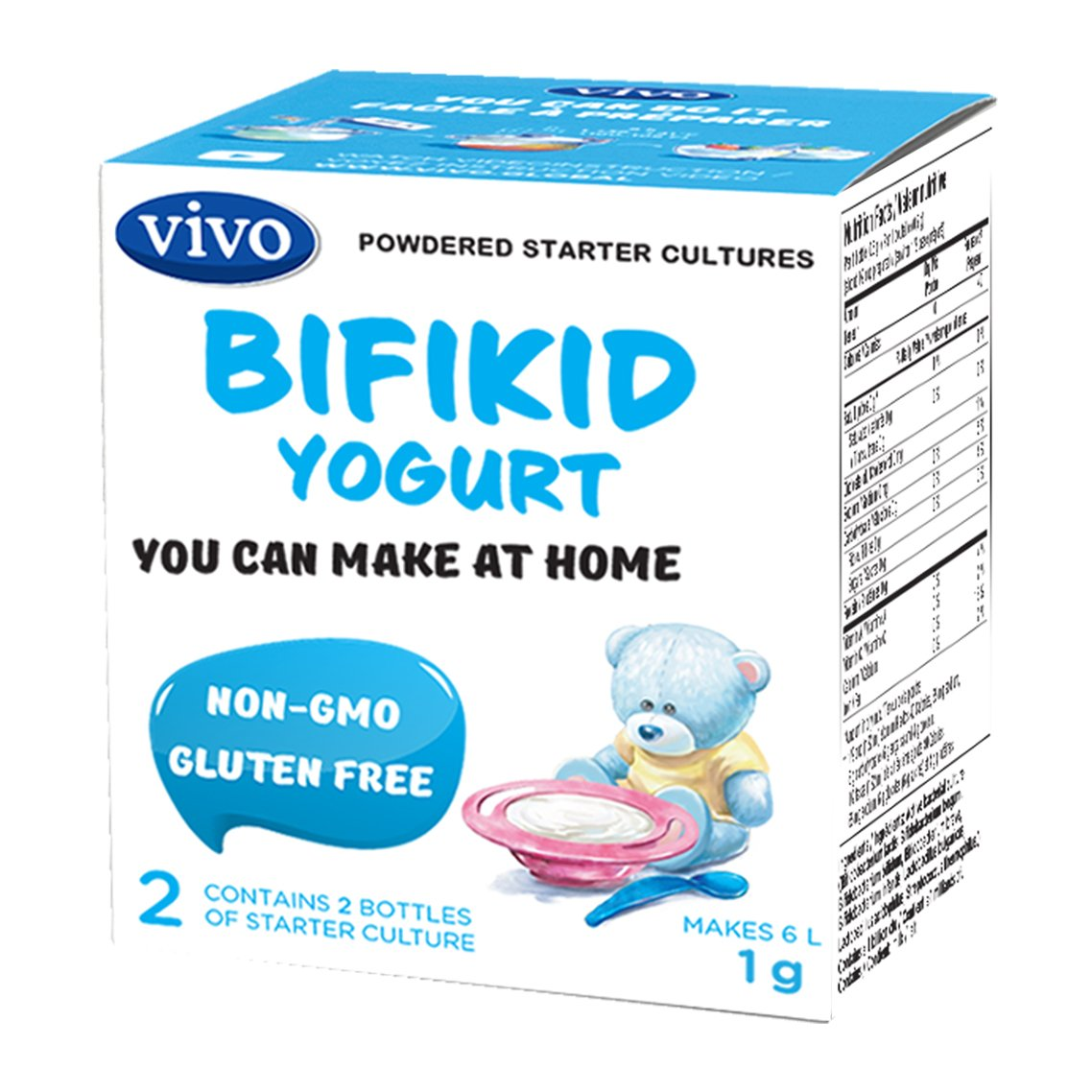 VIVO Kids Yogurt Starter/Natural (5 Boxes. 10 Bottles) Makes up to 30 litres of Yogurt VIVO-Active