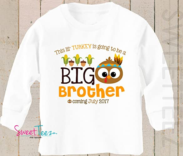 59692adbc Amazon.com: Big Brother shirt Turkey Shirt Personalized Thanksgiving Shirt Pregnancy  Announcement: Handmade