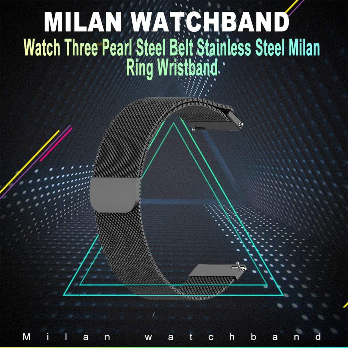 Mazurr Bracelet en Acier Inoxydable en m/étal pour Xiaomi Huami Amazfit GTR 47mm Bracelet Bracelet pour Huami Amazfit Bip BIT Youth Watchband Couleur: Noir