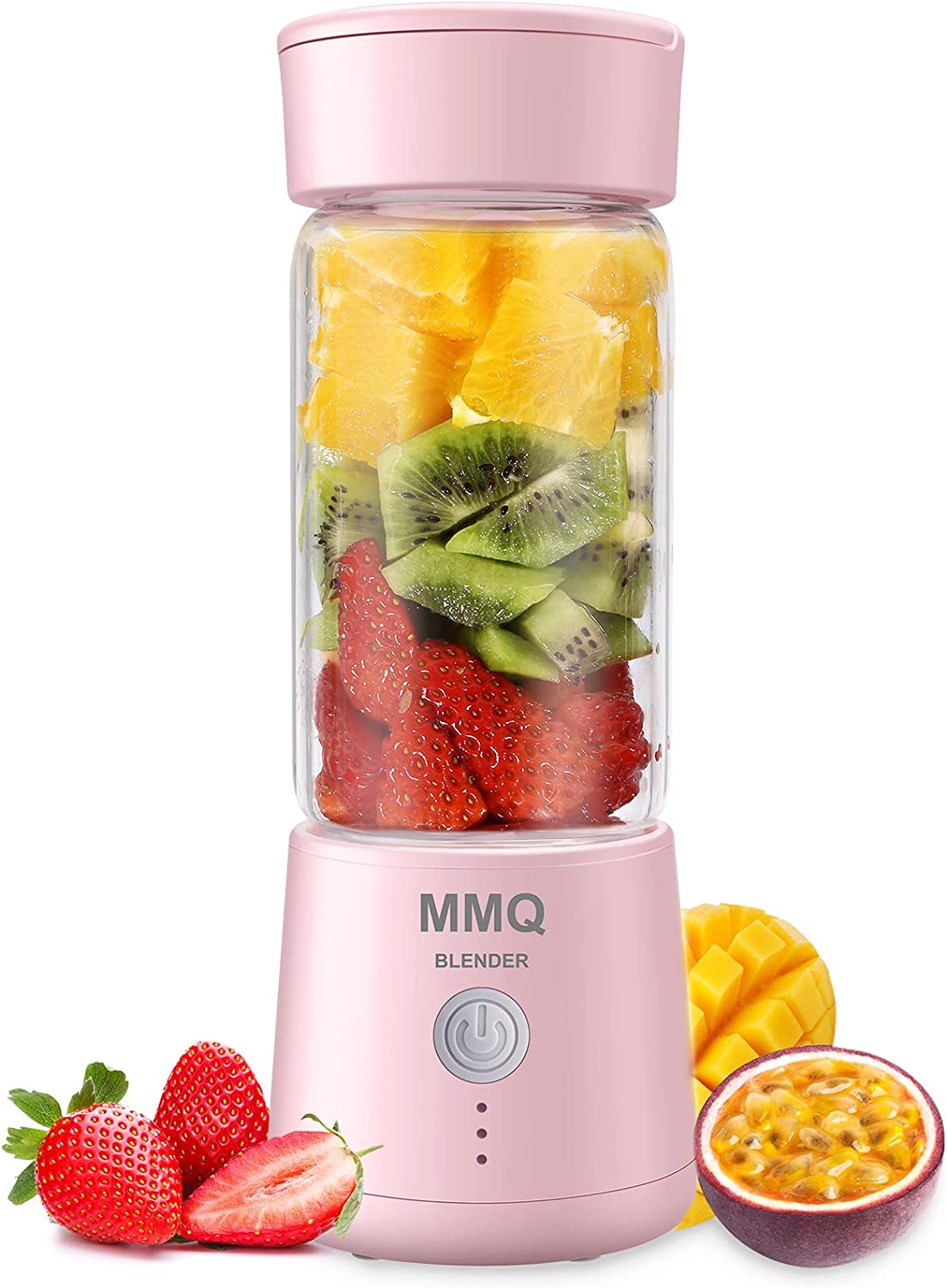 Portable Blender, MMQ Personal Size Glass Juicer Cup, Fruit Shake, Smoothies Mixer with 2000mAh USB Rechargeable Battery, 3D Six Blades, 410ML (Pink)
