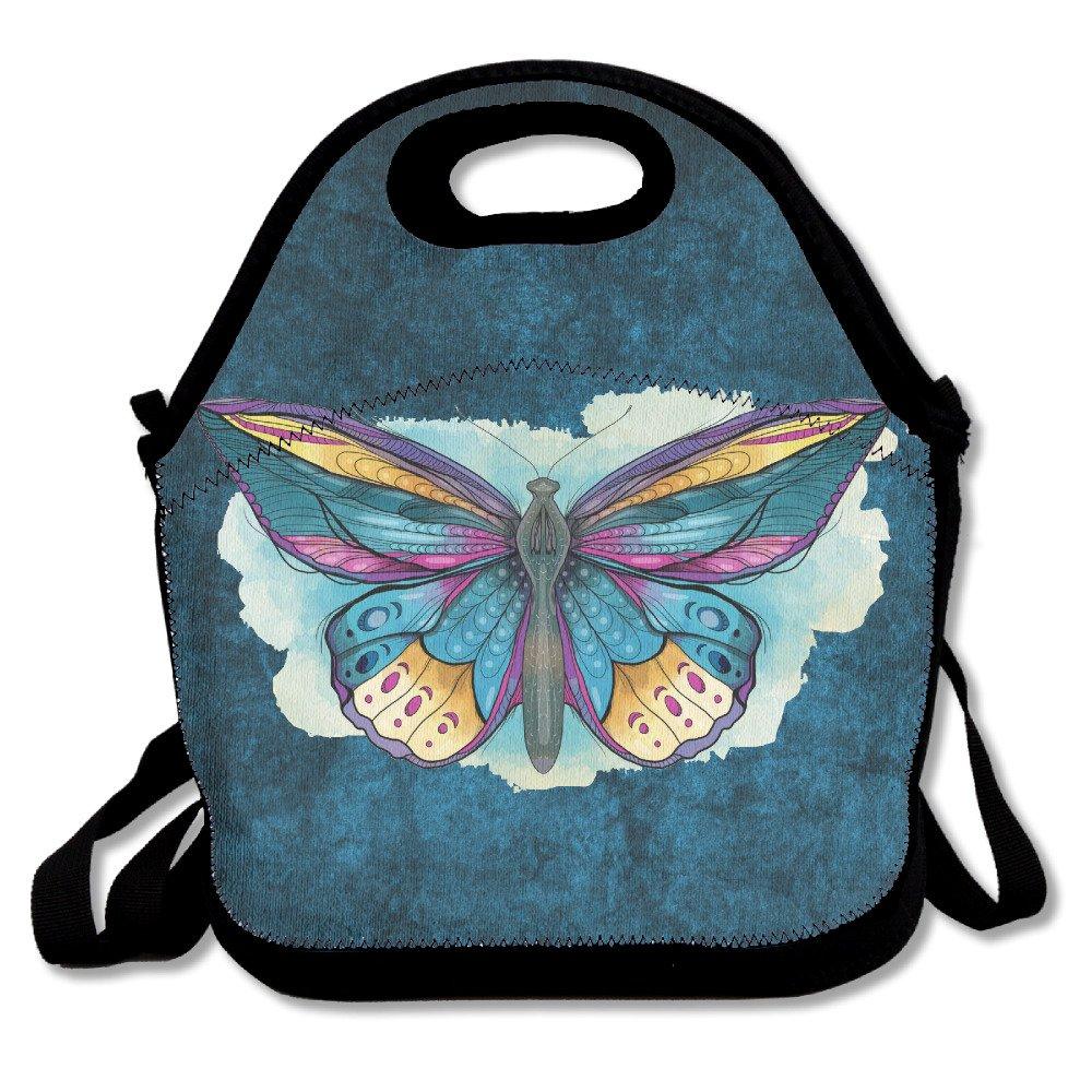 美しい蝶印刷パターンInsulated Lunchバッグ – ネオプレンLunch Bag – Large Reusableランチトートバッグレディース、大人向け、ガールズ、子供、赤ちゃん、ポータブルCarry   B07415CQVV