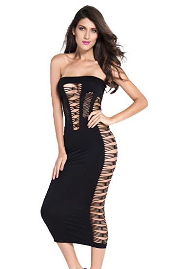 27bf3bdf8b9 Amazon.com  Topfly Big Spender Strapless Long Tube Dress Hollow Out Bandage  Night Dress Black US XXS-L Asian Free Size  Clothing