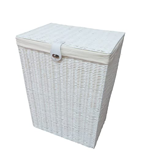 Wooden Storage Stool Laundry Bin White Amazon Co Uk