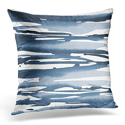 bdaae96be1a6 TORASS Throw Pillow Cover White Acrylic Blue Watercolor Abstract Stripes  Gray Decorative Pillow Case Home Decor Square 16 x 16 Inch Pillowcase