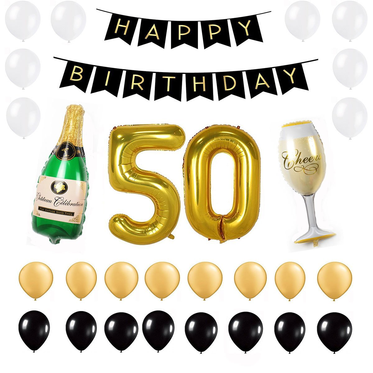 Amazon 50th Birthday Party Decorations Pack Gold Black White Happy Banner 40inch 50 Number Balloon Year Old Supplies For Women