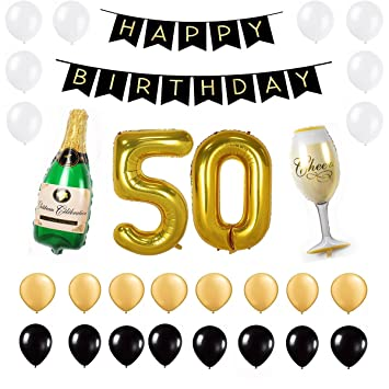 50th Birthday Party Decorations Pack Gold Black White Happy Banner 40inch 50 Number