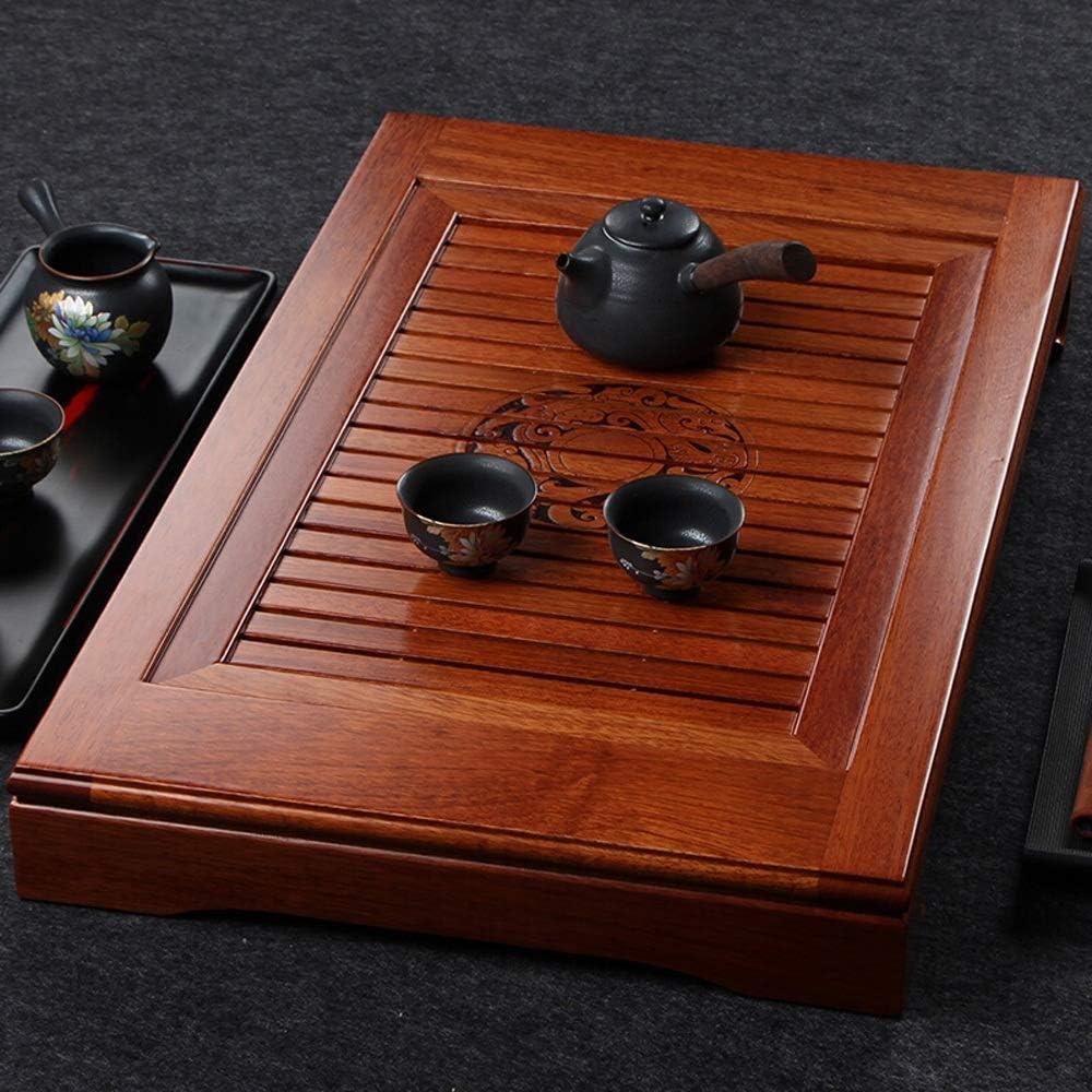 ティートレイを提供 オフィスホーム用トレイ中国語繁体雲パターンカンフー茶サービングプレートティートレイをサービングレトロGongfu茶 (色 : Natural, サイズ : 67x41cm)