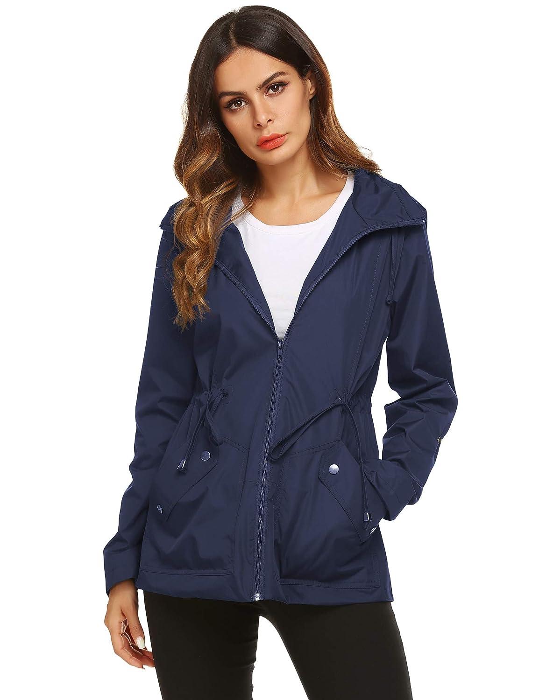 1 bluee ZHENWEI Rain Jacket Women Long Raincoat Lined Rain Coat Waterproof Windbreaker for Hiking Travel