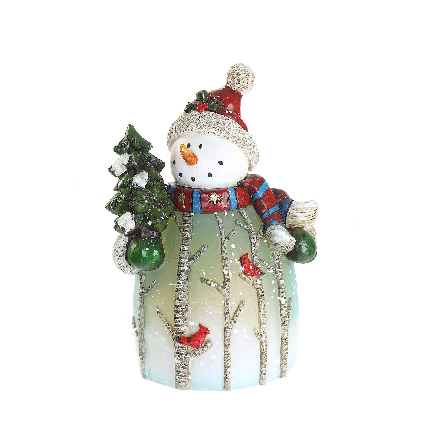 CEDAR HOME Snowman Statue with Tree Table Deocr Winter Scene LED Light Christmas Home Decoration Figurine Holiday Gift, 4.75''W x 3.25''D x 7''H
