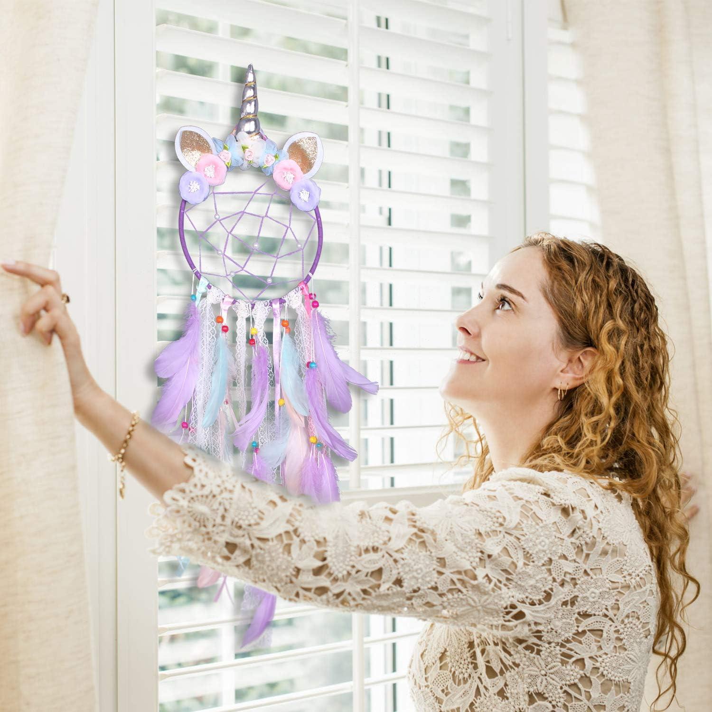 Fleur Rose Fait /à la Main Capteur de R/êves pour la D/écoration de la Chambre des Filles WENTS Attrape de R/êves de la Licorne pour Les Enfants Dreamcatcher