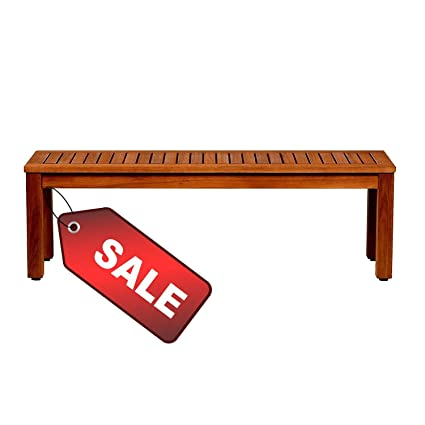 Remarkable Amazon Com Efd Slatted Wooden Bench Brown Finish Large Lamtechconsult Wood Chair Design Ideas Lamtechconsultcom