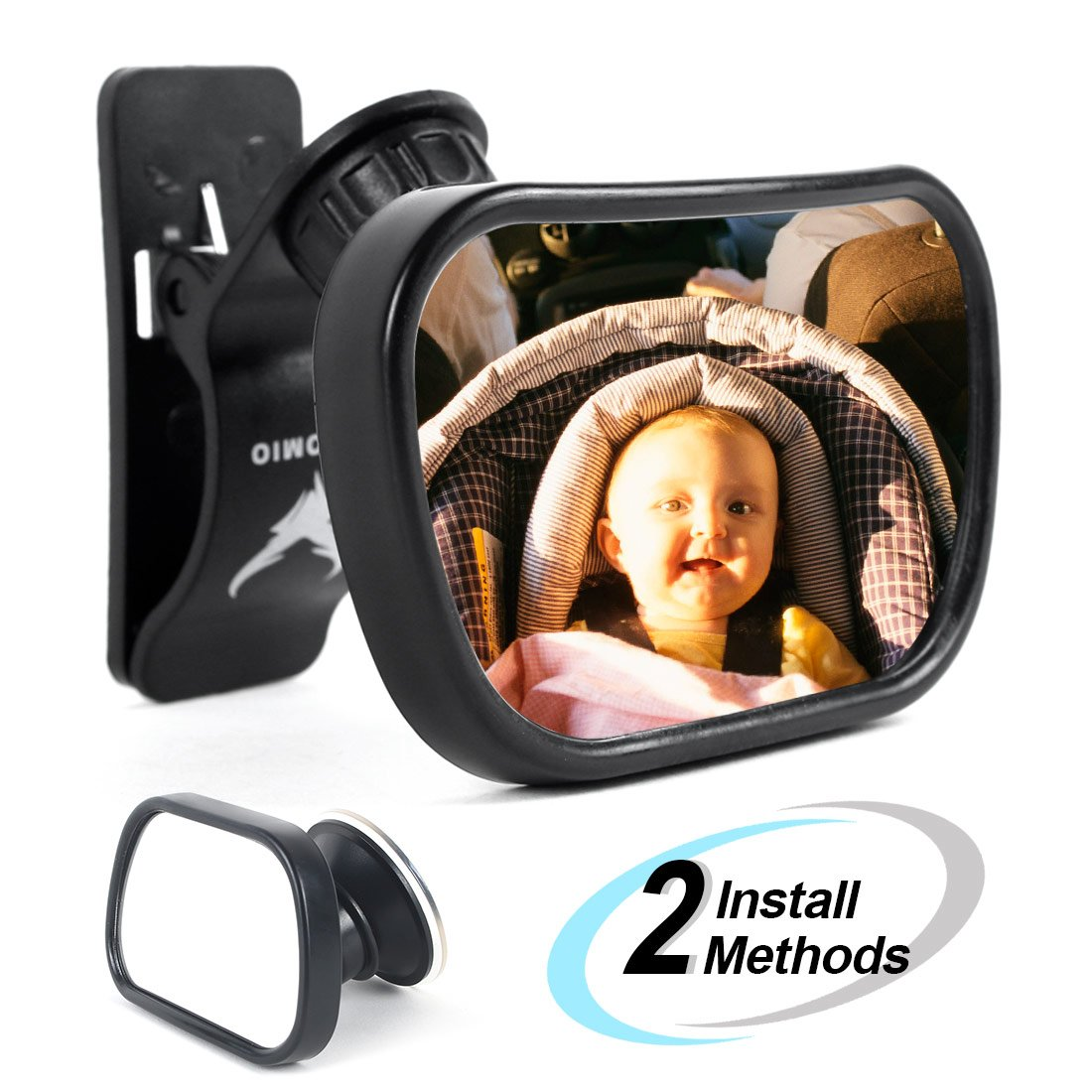 Baby Mirror Car Back Seat Mirror AOTOMIO Adjustable Rear View Convex and Shatterproof Material with Cleaning Cloth Automio