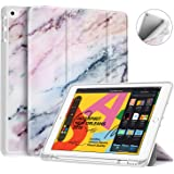 """Fintie SlimShell Case for New iPad 7th Gen 10.2 Inch 2019 with Built-in Pencil Holder - Lightweight Smart Stand Soft TPU Back Cover, Auto Wake/Sleep for iPad 10.2"""" Tablet, Marble Pink"""