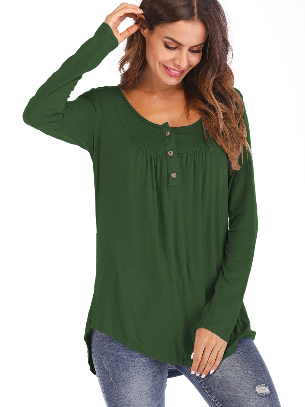 Famulily Women's Long Sleeve Henley V Neck Buttons up Blouse Pleated Tunic Shirt #2 Green XL