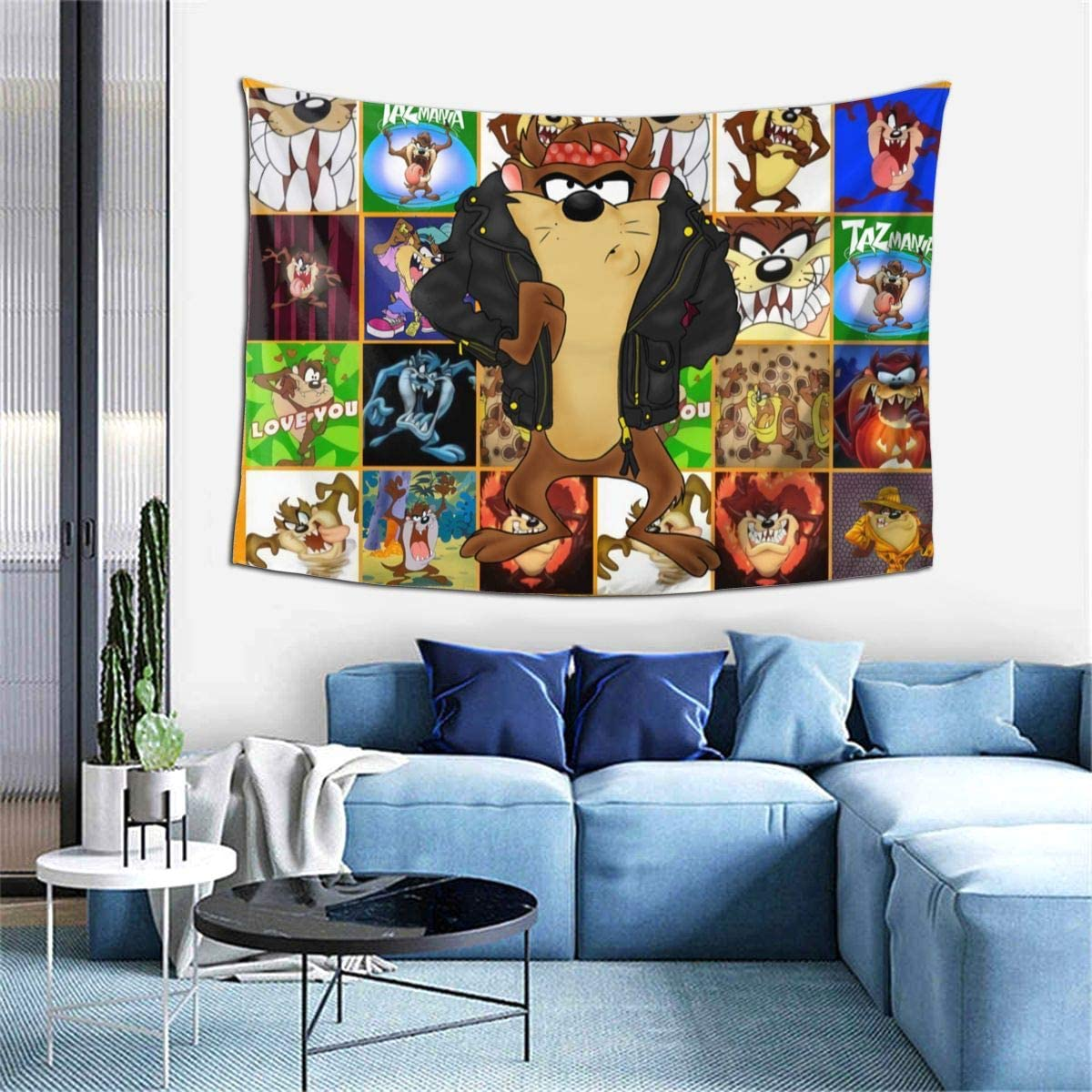 Bestrgi Tapestry Art Wall Hangings 3D Printing Decoration Looney Tunes Tasmanian Devil Taz Wall Art Blanket Living Room Comfort Throw Home Decor for Dorm Bedroom Home Decor 60x40 Inches