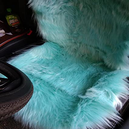 Pleasing Oflba 1Pcs Faux Sheepskin Car Seat Cover For Suv Long Wool Universal Fit Fur Seat Cushion Sea Blue Alphanode Cool Chair Designs And Ideas Alphanodeonline
