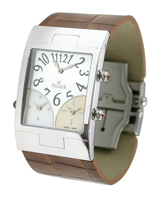 Tellus - Trois quartiers - Damen Armbanduhr Silber aus Edelstahl - Armband Braun aus Alligator - in Schweiz hergestellt -