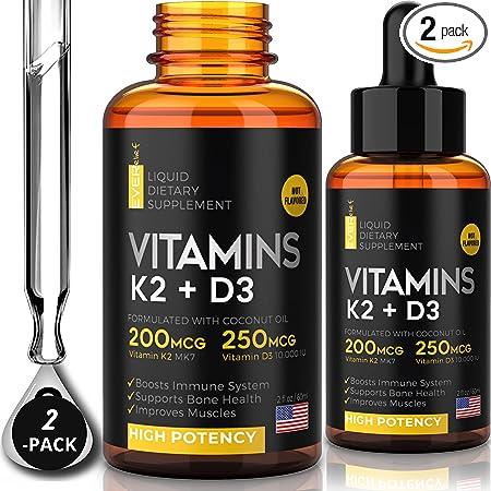 (2 Pack) Liquid Vitamin D3 with K2 - Vitamin D3 Drops 10000 IU + Sublingual Vitamin k2 Liquid with Coconut Oil | Supports Your Bones & Heart and Boost Your Immune System | Organic Vitamin D K2 Liquid