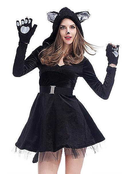 Amazon.com: De la Mujer Gato Negro Disfraz con Capucha ...
