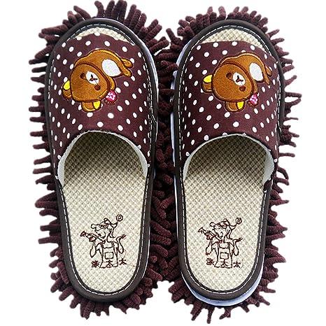 YL historia microfibra chenilla oso patrón Lazy Zapatillas fregona desmontable zapatos de limpieza Limpiador de suelo