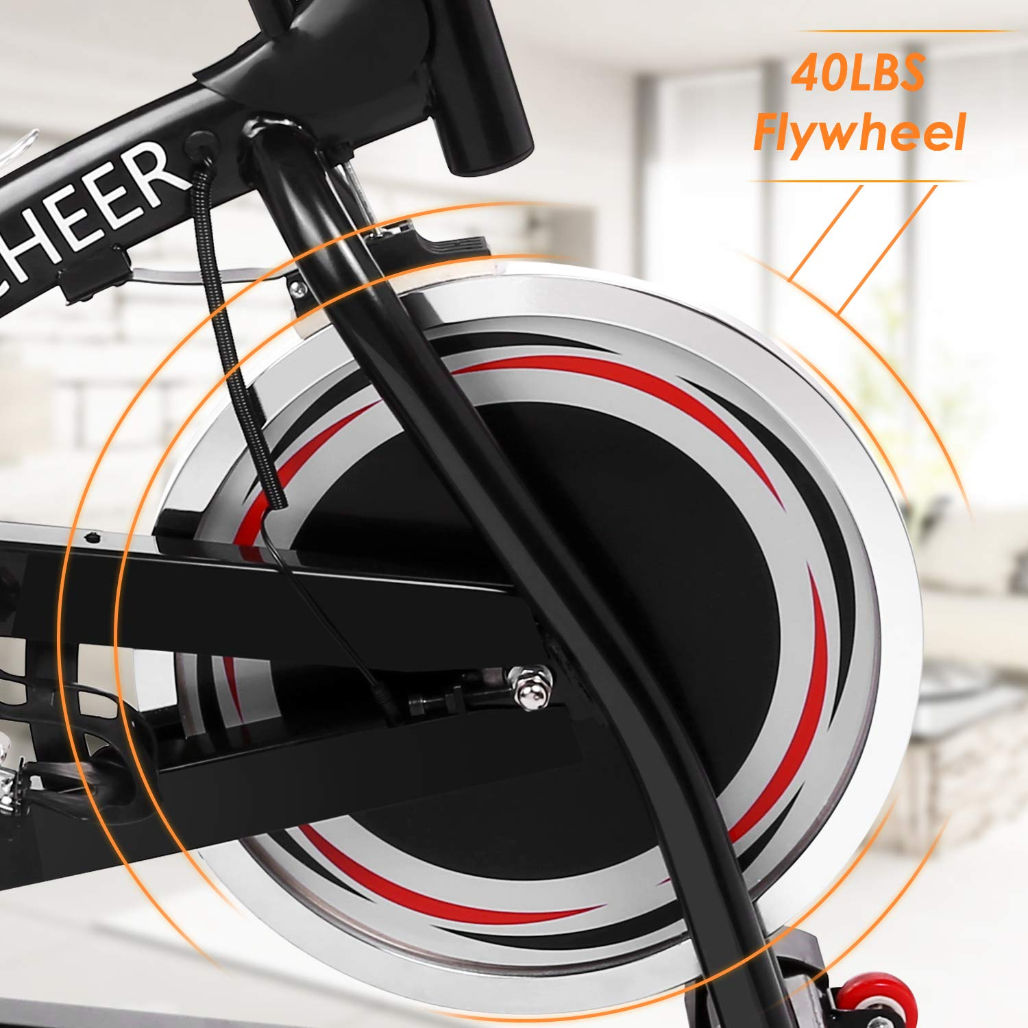 ANCHEER Stationary Bike, 40 LBS Flywheel Belt Drive Indoor Cycling Exercise Bike with Pulse, Elbow Tray (Model: ANCHEER-A5001) (Black) by ANCHEER (Image #2)