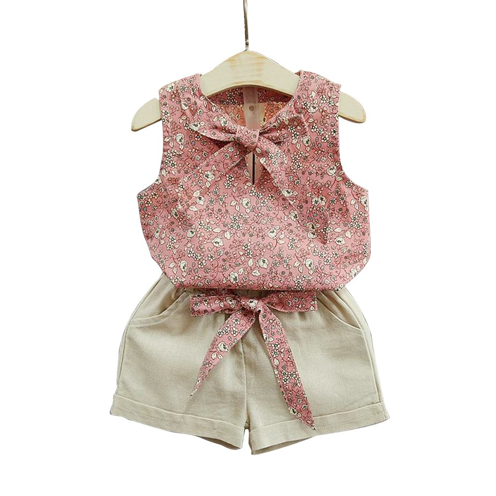 Khaki and Pink Baby Girls Sleeveless Floral Vest Cute Tops with Bowknot and Shorts Outfits Clothes Set Size 15