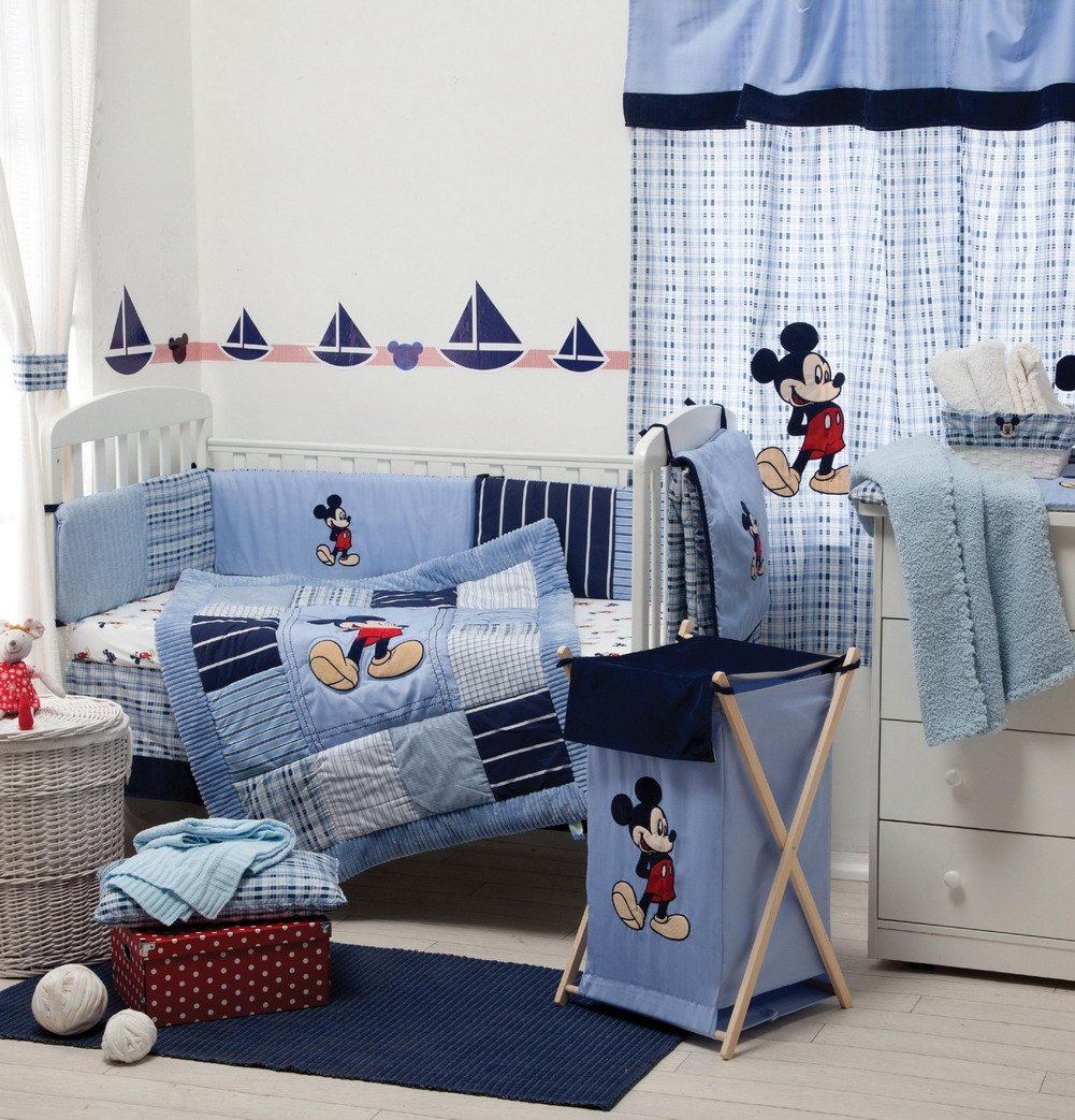 [Blue Mickey Mouse] Crib Bedding Set Bedding Collection (4PC Bedding Set + extra 1 Bumper) by Blancho