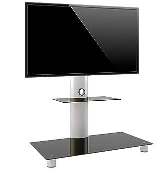 Vcm 14225 Standol Meuble Tv Roulettes Incluses Aluminium Verre Argent Noir