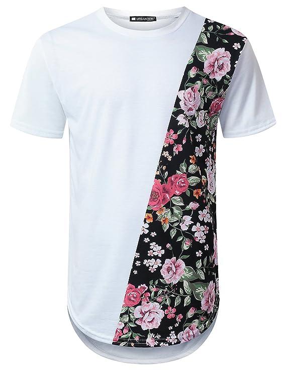 Camiseta de cuello redondo con franja floreada de fondo negro. Ideal para  aquellos hombres con un estilo más urbano. cf3e195f457d2