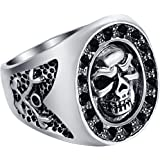 EVBEA Mens Biker Jewellery Punk Rcoker Classical Skull Rings for Men with a Fine Box