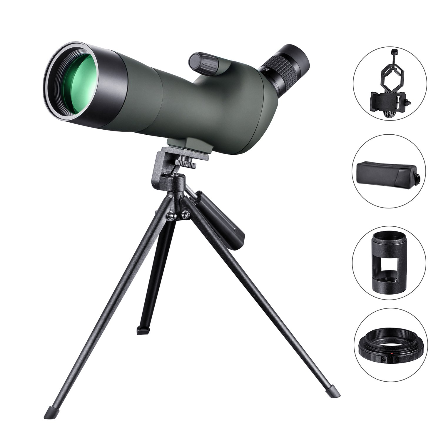 LAKWAR 20-60x60 Spotting Scope for Bird Watching HD Green Film Coated, with Tripod, Phone Adapter, SLR Camera Connector, Suitable for Target Shooting, Camping, and Other Outdoor Activities