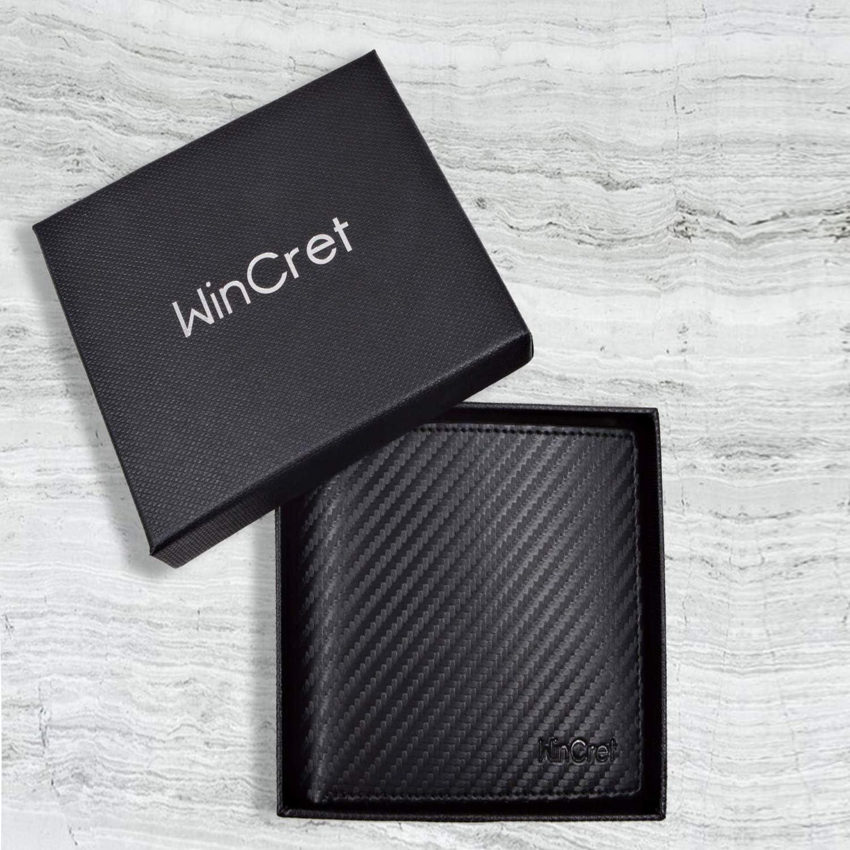 WinCret Piel Carteras para Hombre con Monedero y RFID Bloqueo Billetera Hombre con 8 Ranuras para Tarjeta de pel/ícula
