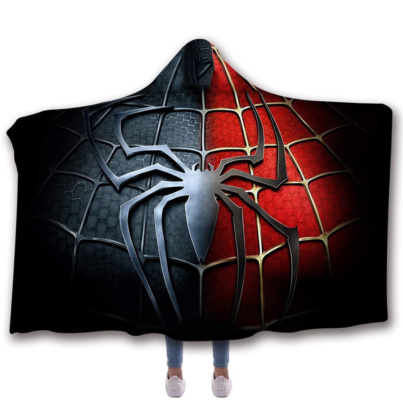 AMTAN 3D Spider-Man Hooded Blanket Superhero Movie Blanket Super Soft Sherpa Fleece Blankets Warm Wearable Blankets Kids and Adults Cozy Blankets (Kids 51''x 59'' inch) by AMTAN