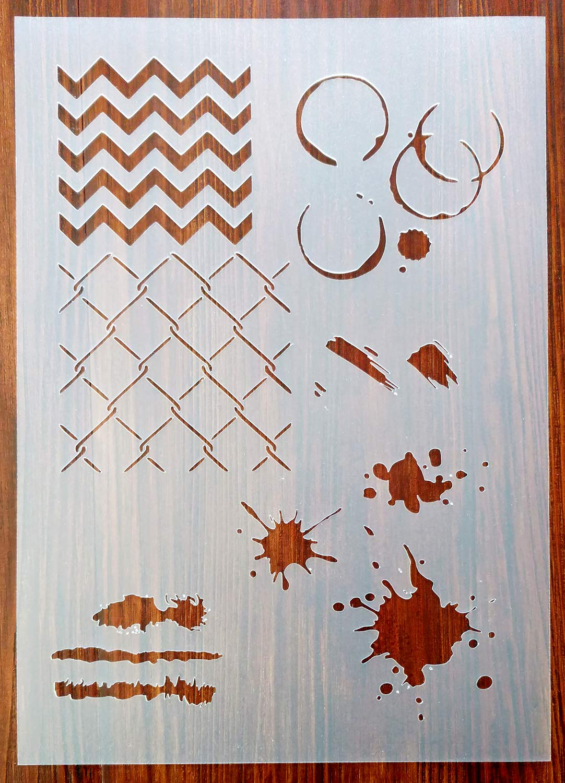 Grunge Patterns Stencil Mask Reusable PP Sheet for Arts /& Crafts