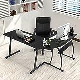 Office Desk Coavas L-Shaped Corner Desk Large PC Gaming Desk Computer Desk Workstation Home Office 148x112x74 cm Black