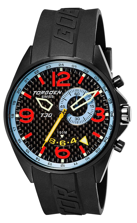 TORGOEN Swiss Herren-Armbanduhr Analog Edelstahl schwarz T30303