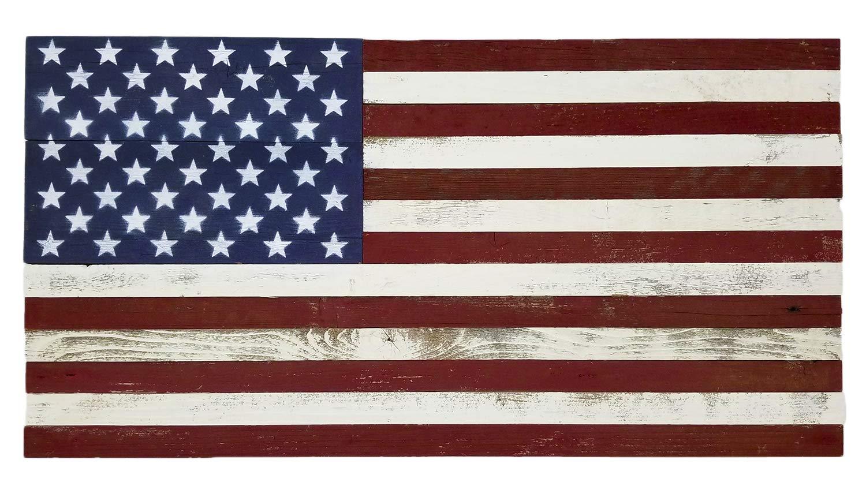 Alder & Elder Rustic Wood American Flag 18'' x 36'' Handmade in The USA