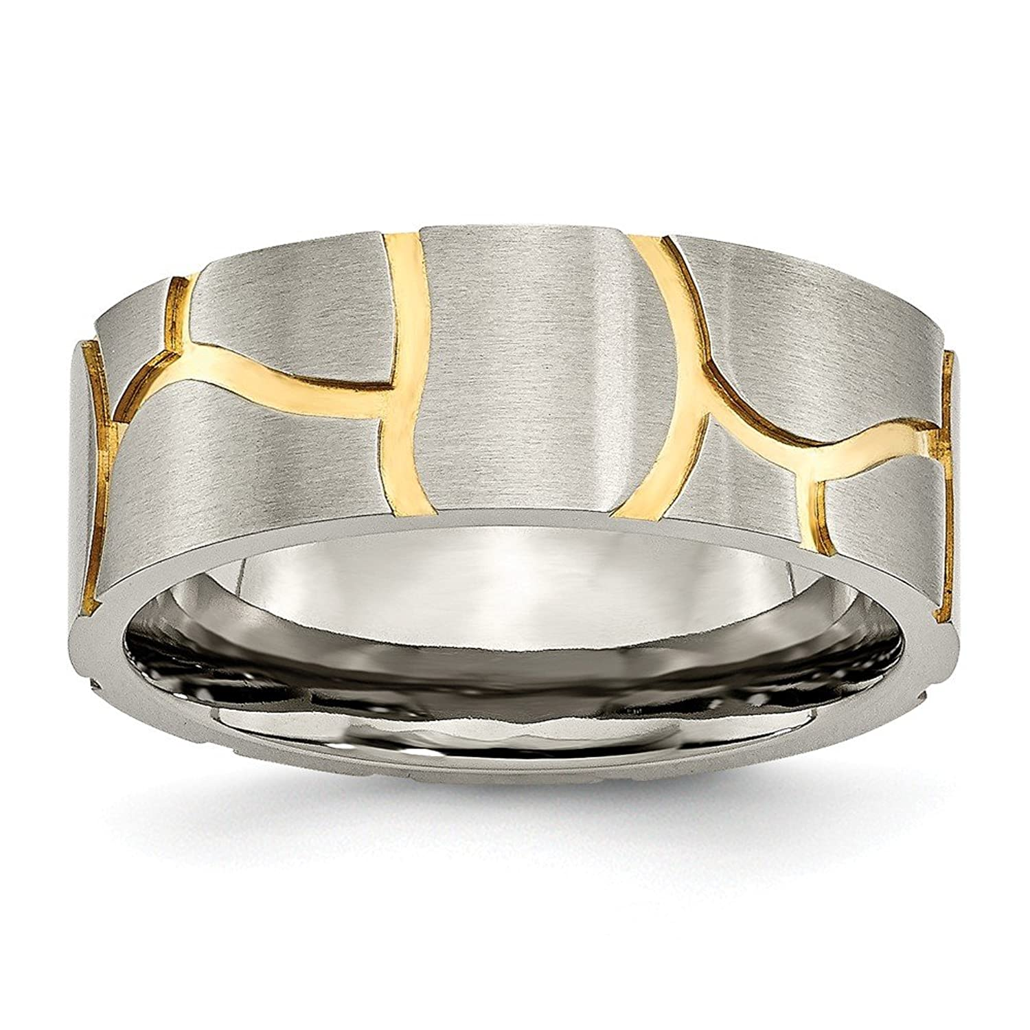 Jewels By Lux Titanium Grooved Yellow IP-plated Mens 8mm Brushed Band