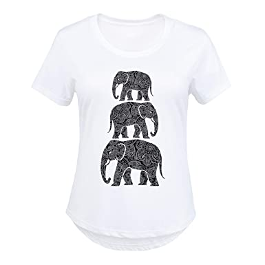 db2a6dc1419c2d HARPER   QUINN Elephants Stacked Henna Pattern - Ladies Plus Size Scoop  Neck Tee White