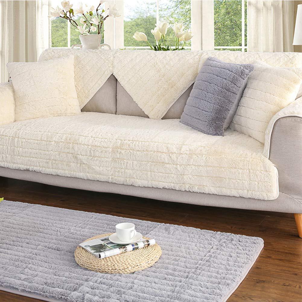 YQ WHJB Plush Solid Color Sofa Cover,Anti-Slip Bay Window Pad,Decoration Japanese Quilting Carpet Pad Sofa Towel-Beige 90x240cm(35x94inch)
