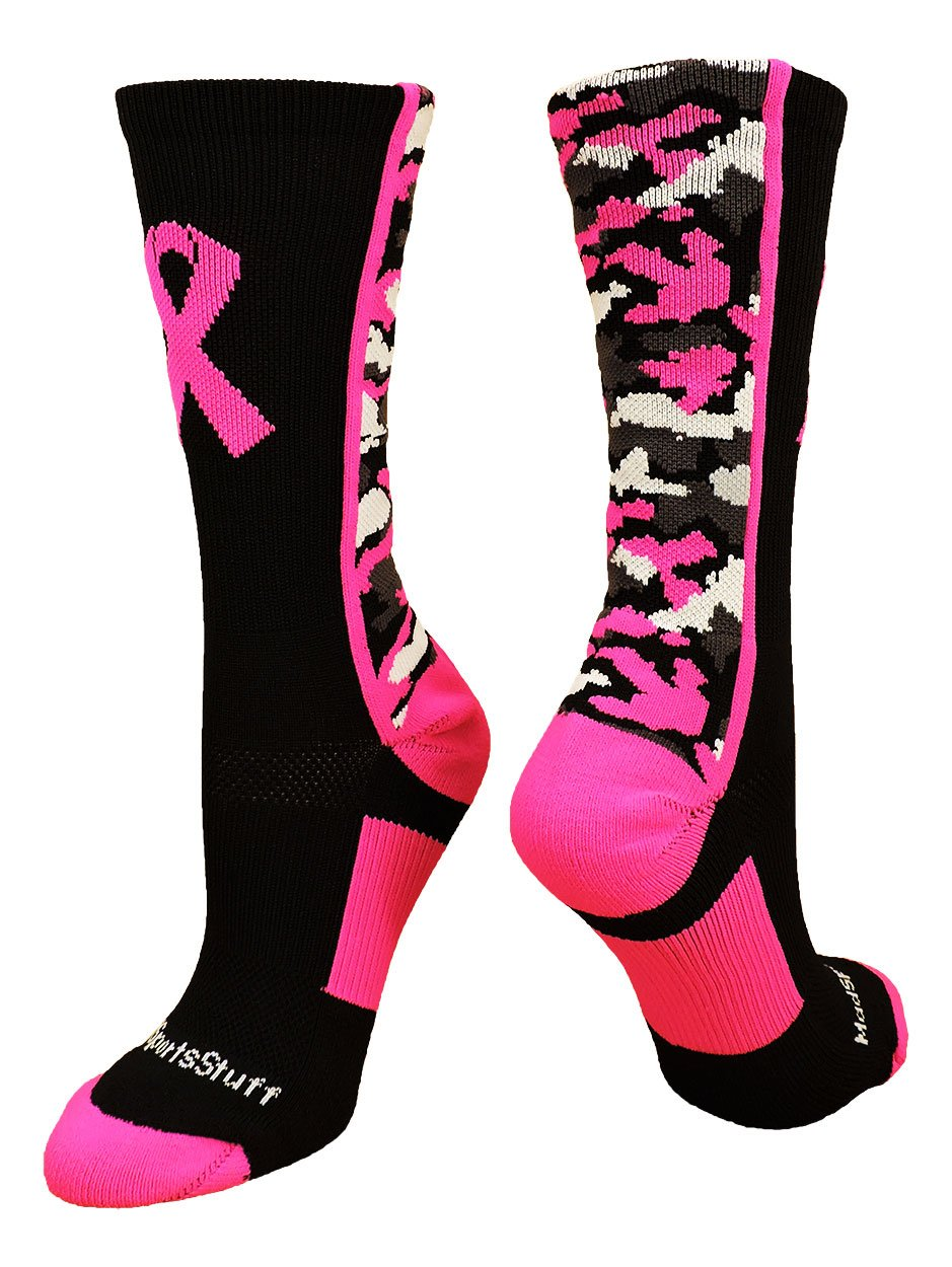 MadSportsStuff Pink Ribbon Awareness Camo Crew Socks (Black/Neon Pink, Large) by MadSportsStuff