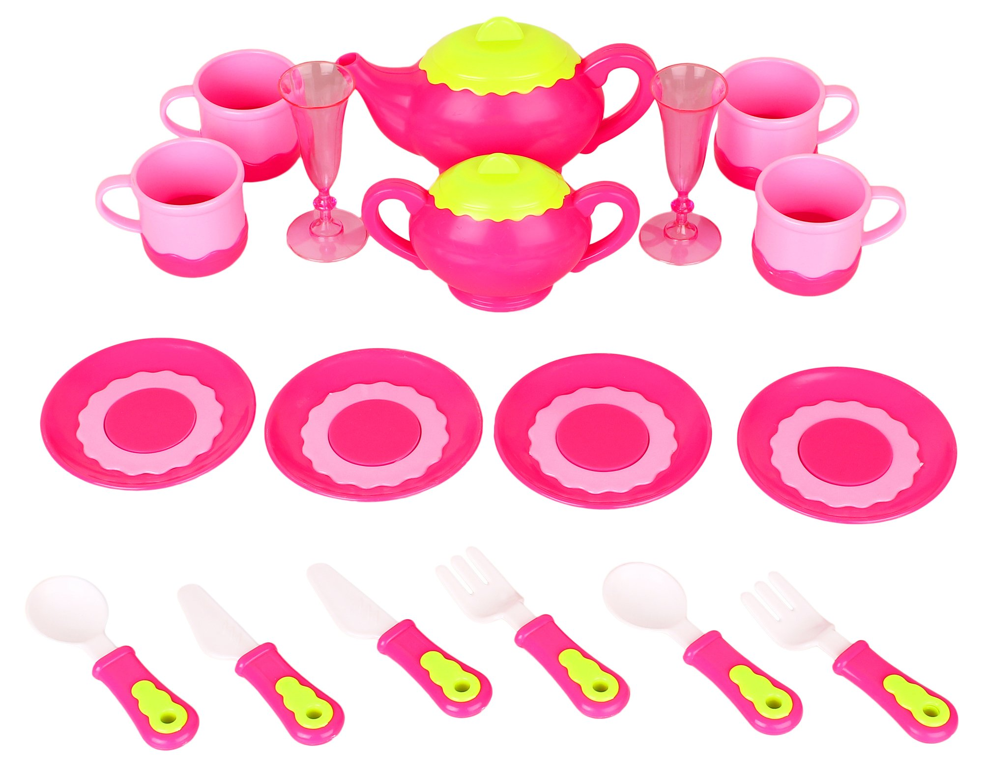 Liberty Imports Deluxe Pink Tea Set for Kids with Tea Pots, Cups, Dishes and Kitchen Utensils (18 pcs) by Liberty Imports