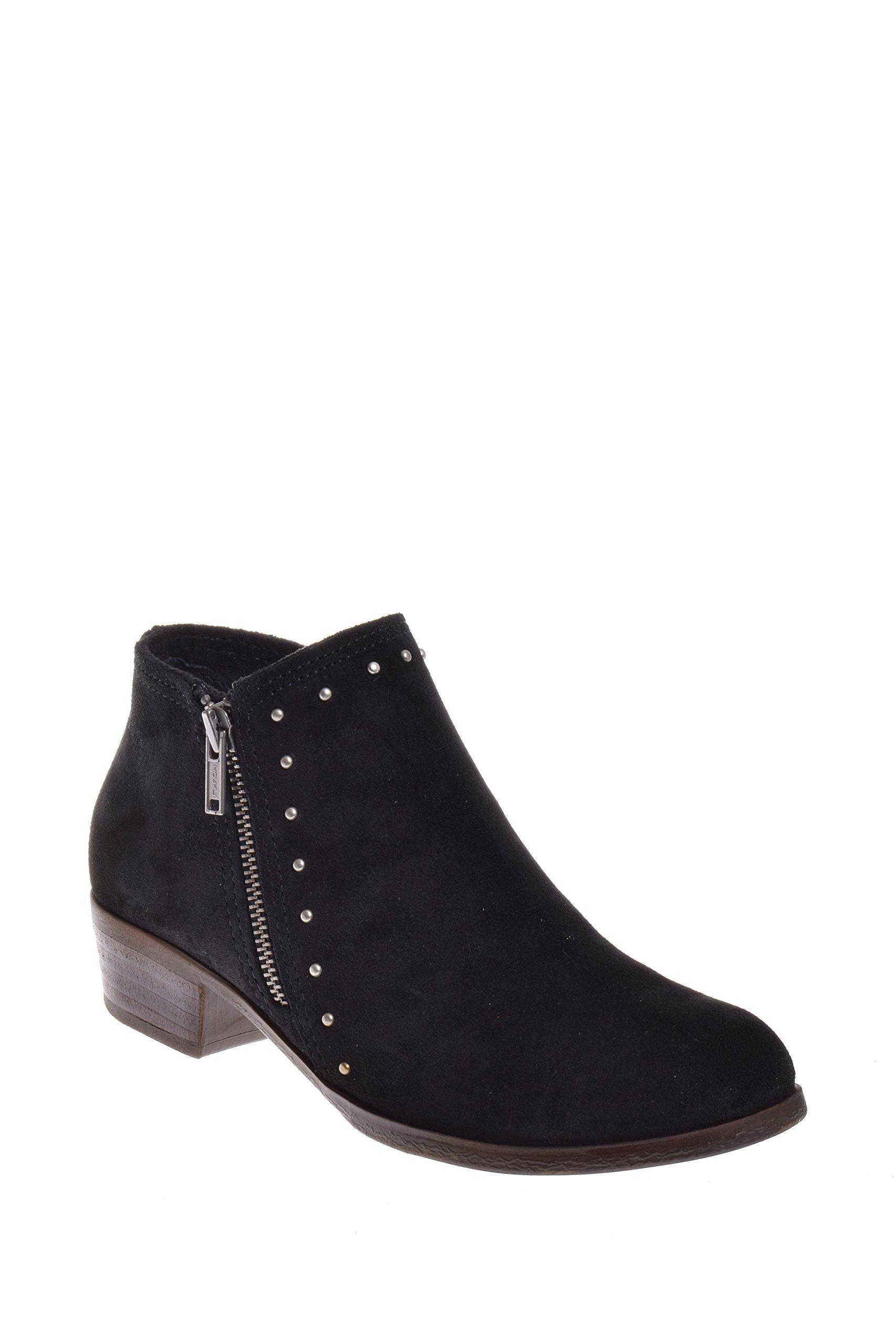 Minnetonka Women's Brie Side Zip Stud Boot Round Toe (9.5 B(M) US, Black)