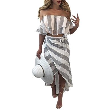 Damen Sommer Elegant Volant Strandkleid Gestreift Zweiteiler Kleid Sets Crop Tops Bodycon Rock Cocktailkleid Clubwear PartykleidAbendkleid Maxikleid