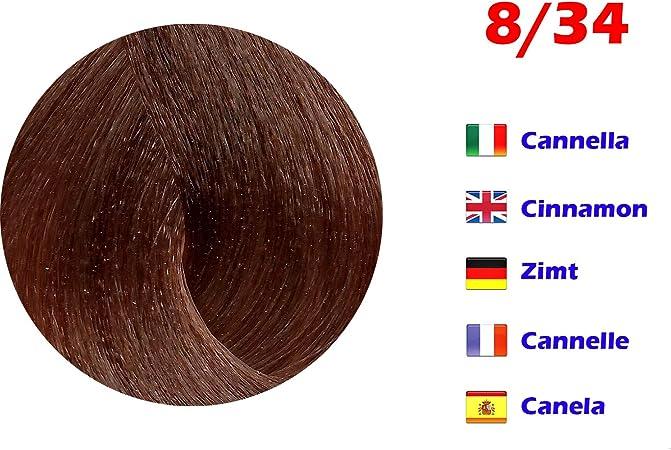 Tinte de Pelo Profesional Canela Extreme con Amoníaco 8/34 Permanente 100ml Made in Italy